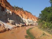 Красная и белая гора камня песка Стоковое фото RF