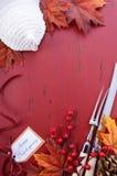 Красная и белая предпосылка благодарения темы Стоковые Изображения