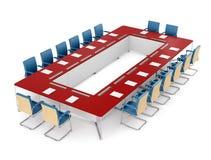 Красная и голубая таблица встречи и красный стул на белизне Стоковое Изображение
