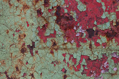 Красная и зеленая краска на поверхности металла Стоковое фото RF