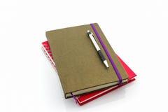 Красная и коричневая книга дневника Стоковые Изображения