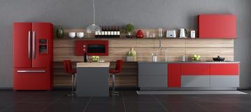 Красная и серая современная кухня иллюстрация штока