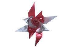 Красная и серебряная лента вычуры формы цветка Стоковые Изображения RF