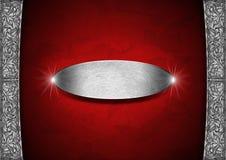 Красная и серебряная флористическая предпосылка с металлической пластиной иллюстрация штока
