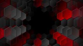 Красная и черная анимация видео шестиугольников техника