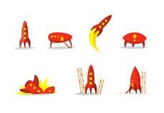 Красная иллюстрация цвета воздушных судн и ракеты ufo установленная Startup метафора подготавливайте старт к Путь начала к Стоковая Фотография RF