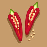 Красная иллюстрация chili и Стоковые Изображения RF