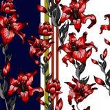 Красная картина лилий безшовная Осень лета цветет собрание ткани Стоковое Изображение