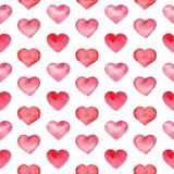 Красная картина сердец акварели Безшовная картина обоев или предпосылки бесплатная иллюстрация