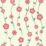 Красная картина цветков с черенок и листьями Стоковые Фотографии RF