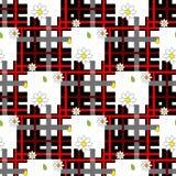 Красная картина цветков шотландки и маргаритки тартана на checkered предпосылке для ткани иллюстрация штока