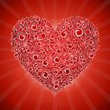 Красная карточка рогульки Валентайн с сердцем свирли флористическим Стоковое Изображение RF