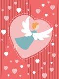 Красная карточка с ангелом Стоковое Изображение