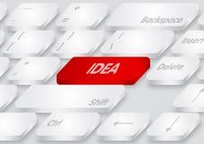 Красная клавиатура идеи на белой предпосылке Стоковая Фотография