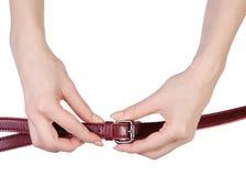 Красная классика пояса в руке Стоковая Фотография RF