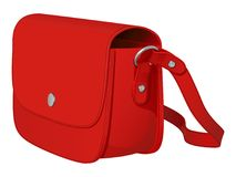 Красная кожаная сумка дам с длинным поясом Стоковые Изображения RF