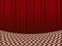 красная комната предпосылка с красными занавесами бархата иллюстрация вектора