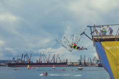 Красная конкуренция 2016 Bull Flugtag в Варне Полет Стоковые Фото