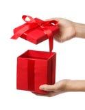 Красная коробка подарка праздника Стоковое Фото