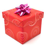 Красная коробка подарка с крышкой на белой предпосылке Стоковые Фото