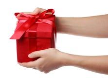 Красная коробка подарка праздника Стоковое Изображение
