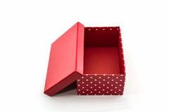 Красная коробка точек польки, с путем клиппирования стоковое фото rf