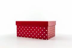 Красная коробка точек польки стоковые фото