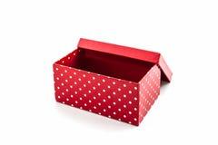 Красная коробка точек польки стоковое фото