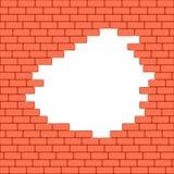 Красная, который разбили предпосылка текстуры кирпичной стены также вектор иллюстрации притяжки corel Стоковое фото RF