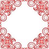 Красная красивая рамка в классическом стиле на задней части белизны Стоковые Фото