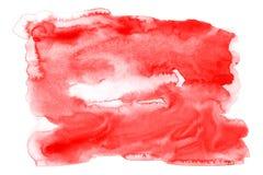 Красная краска руки искусства предпосылки акварели на бумажной текстуре стоковое изображение