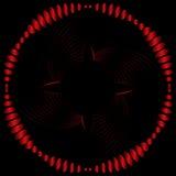 Красная круглая волнистая картина изогнутых линий на черной предпосылке Стоковые Фотографии RF