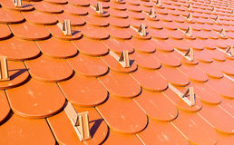 Красная крыша с предохранителями снега Стоковые Фото