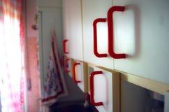 Красная кухня в утре стоковое фото