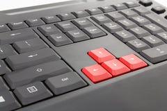 Красная клавиатура компьютера стрелок Стоковое фото RF