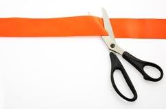красная лента ножниц Стоковая Фотография