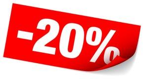 Красная липкая продажа примечания минус 20 процентов иллюстрация штока