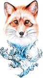 Красная лиса и вода иллюстрация вектора