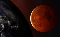 Красная луна за землей планеты venus солнечной системы путя ртути фокуса земли клиппирования Элементы изображения поставлены NASA стоковая фотография rf