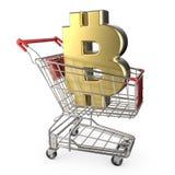 Красная магазинная тележкаа с золотым знаком валюты 3D bitcoin Стоковое Фото
