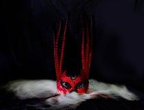 Красная маска на дыме стоковое изображение