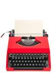 Красная машинка с чистым листом бумаги Стоковое Изображение RF