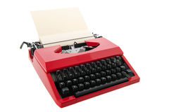 Красная машинка с чистым листом бумаги Стоковая Фотография