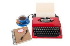Красная машинка с чистым листом бумаги Стоковое Фото