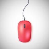 Красная мышь компьютера на белизне Стоковая Фотография RF
