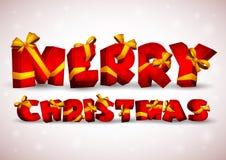 Красная надпись с Рождеством Христовым Стоковое Фото