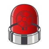 Красная непредвиденная сирена изолированная на белой предпосылке Искусство цветного барьера конструкция ретро Стоковые Фото