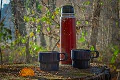 Красная несенная вне бутылка thermos с 2 голубыми чашками Стоковая Фотография RF