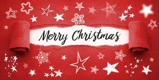 Красная обработка документов с различными видами рождества звезд веселого стоковые изображения rf