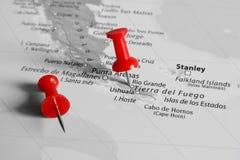 Красная отметка над Патагонией Стоковые Фото